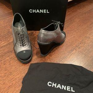 Chanel wedge booties